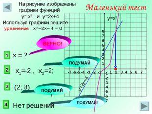 1 2 3 Маленький тест На рисунке изображены графики функций у= х3 и у=2х+4 Исп