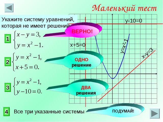 1 3 2 Маленький тест Укажите систему уравнений, которая не имеет решений. 4 О...