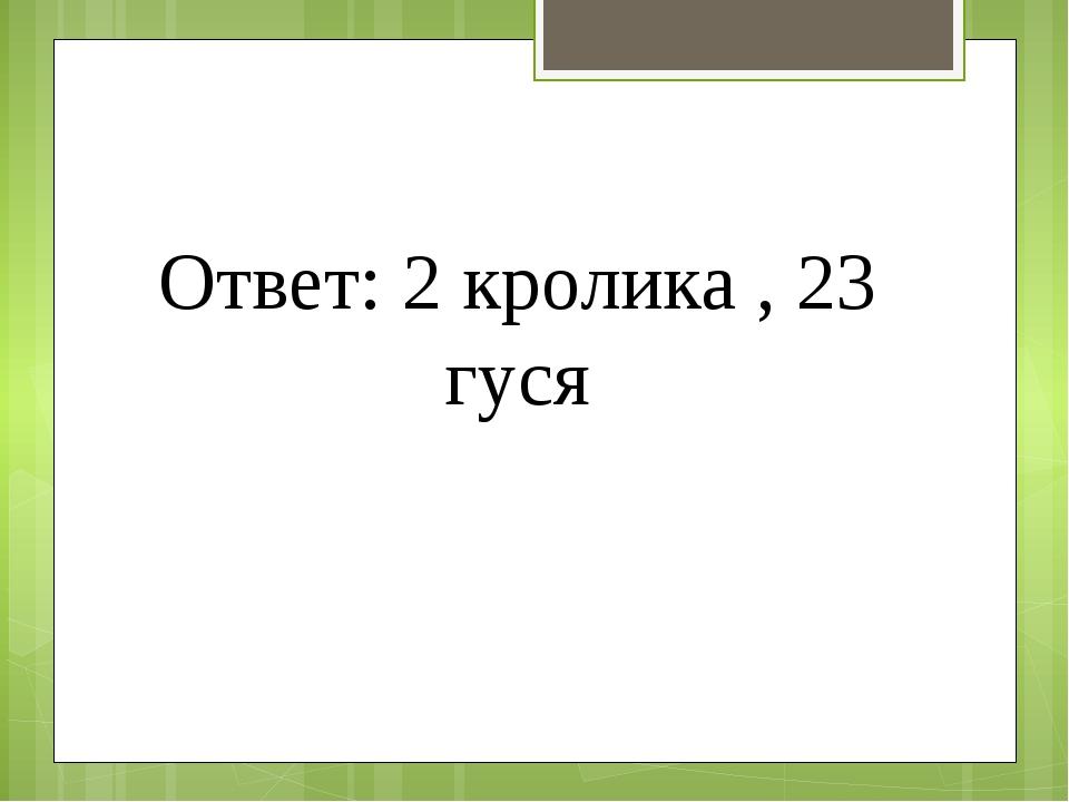 Ответ: 2 кролика , 23 гуся