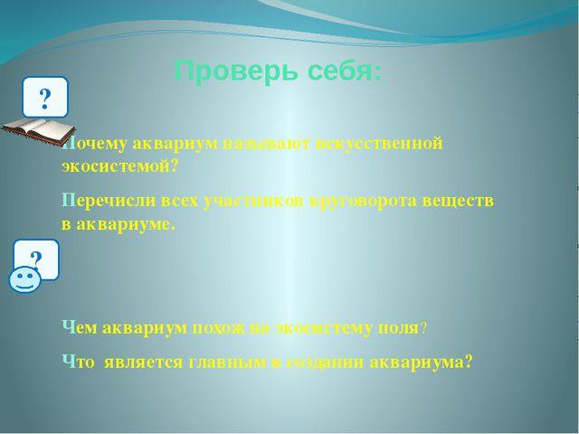 Проверь себя: Почему аквариум называют искусственной экосистемой? Перечисли в...