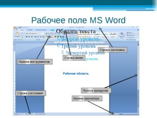 Рабочее поле MS Word Строка заголовка Строка меню Рабочая область Кнопки прос