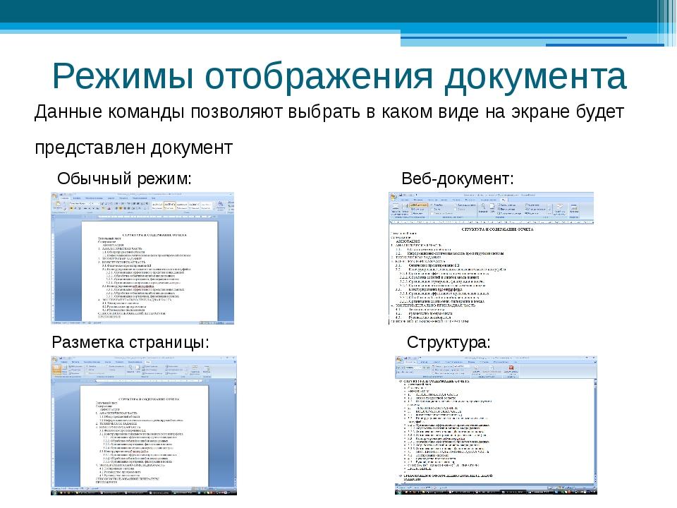 Режимы отображения документа Данные команды позволяют выбрать в каком виде на...