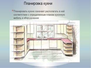 Планировать кухню означает располагать в ней соответствии с определенным план