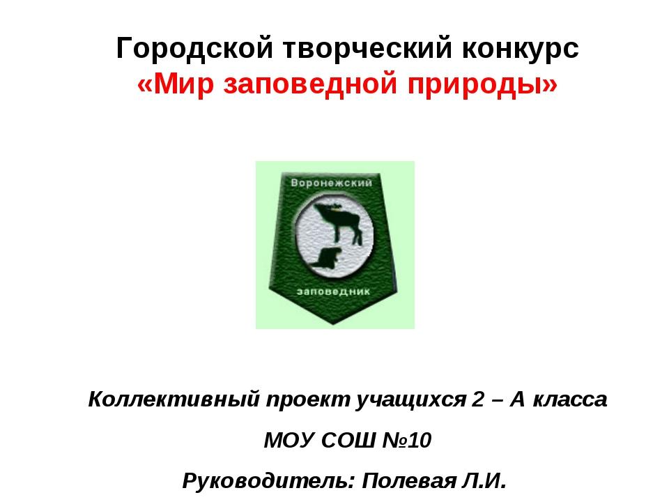 Городской творческий конкурс «Мир заповедной природы» Коллективный проект уча...