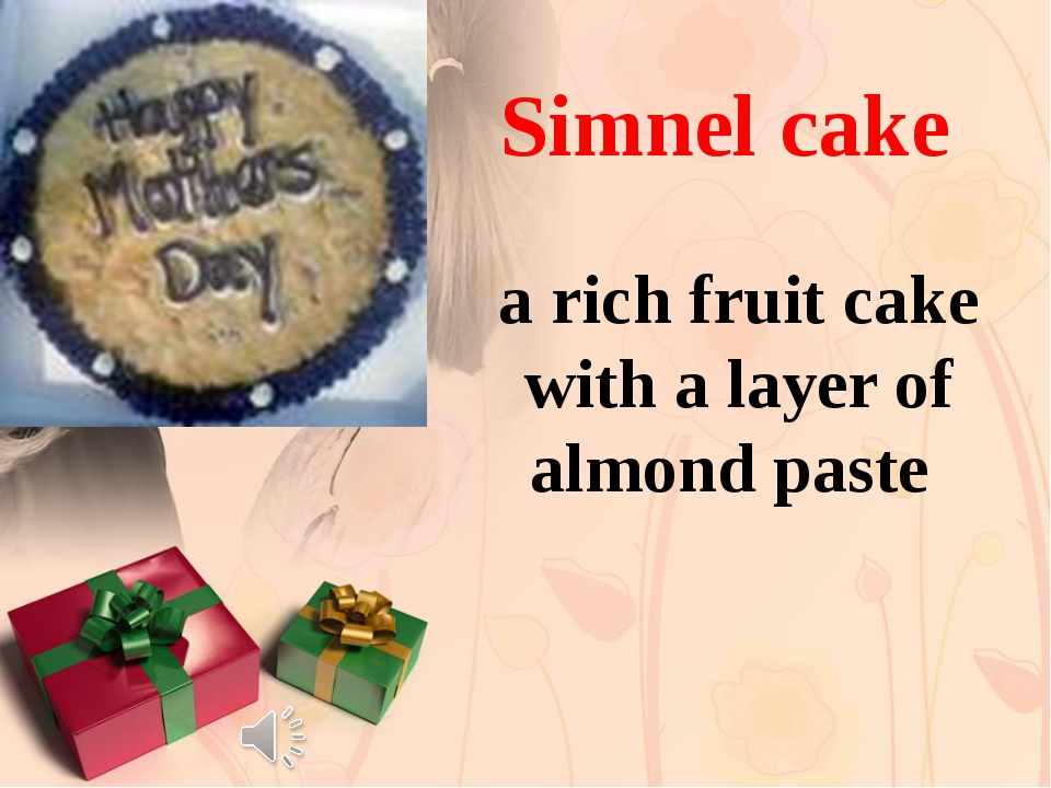 a rich fruit cake with a layer of almond paste Simnel cake