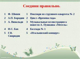 Соедини правильно. 1 Ф. Шопен 1 Ноктюрн из струнногоквартета № 2 2 А.П. Бород