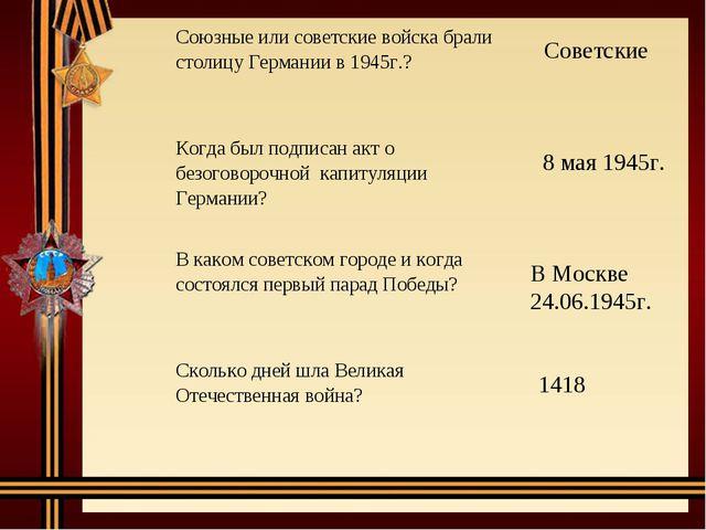 Советские 8 мая 1945г. В Москве 24.06.1945г. 1418 Союзные или советские войс...
