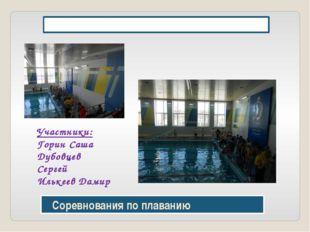Соревнования по плаванию Стадион «Динамо» 21 марта Участники: Горин Саша Дуб