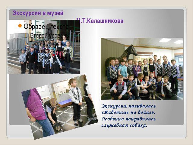 Экскурсия в музей имени М.Т.Калашникова Экскурсия называлась «Животные на вой...