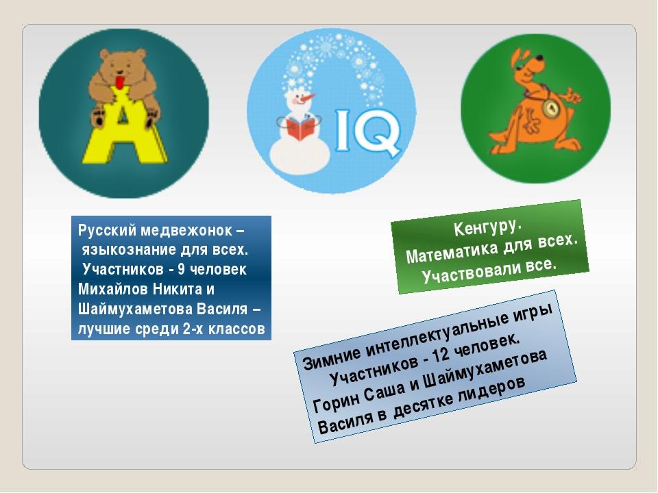 Русский медвежонок – языкознание для всех. Участников - 9 человек Михайлов Ни...