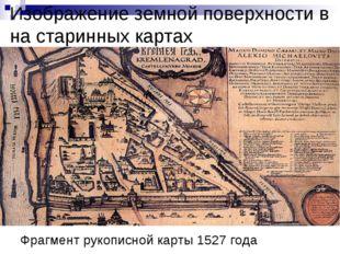 Изображение земной поверхности в на старинных картах Фрагмент рукописной карт
