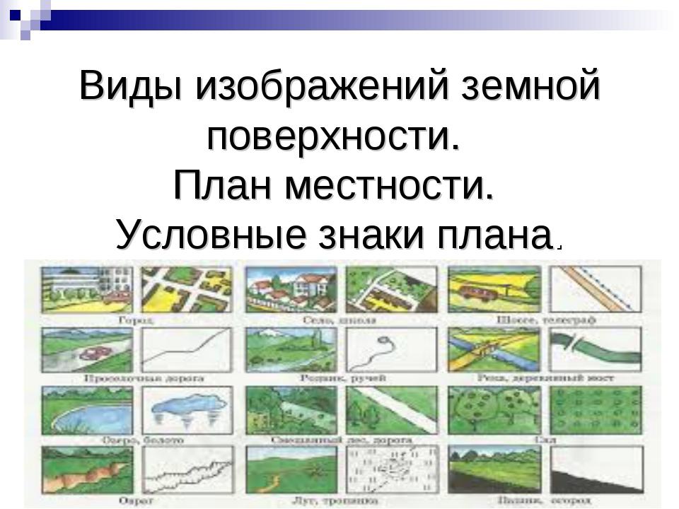 Виды изображений земной поверхности. План местности. Условные знаки плана.