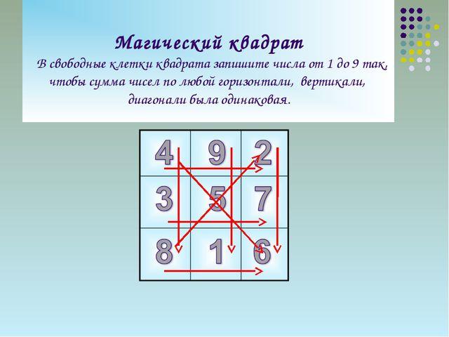Магический квадрат В свободные клетки квадрата запишите числа от 1 до 9 так,...