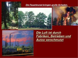 Die Feuerbrunst bringen große Schaden. Die Luft ist durch Fabriken, Betrieben