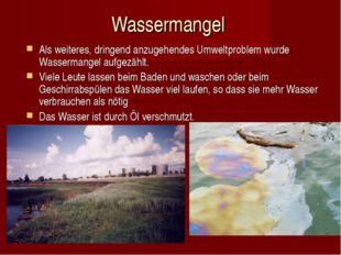 Wassermangel Als weiteres, dringend anzugehendes Umweltproblem wurde Wasserma