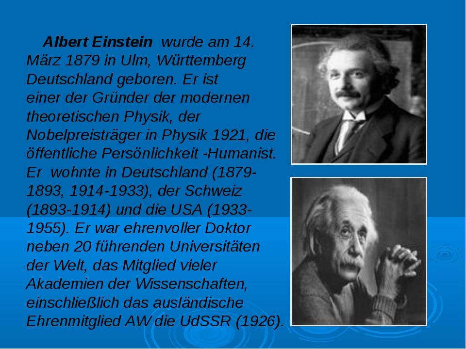 Albert Einstein wurde am 14. März 1879 in Ulm, Württemberg Deutschland gebor...