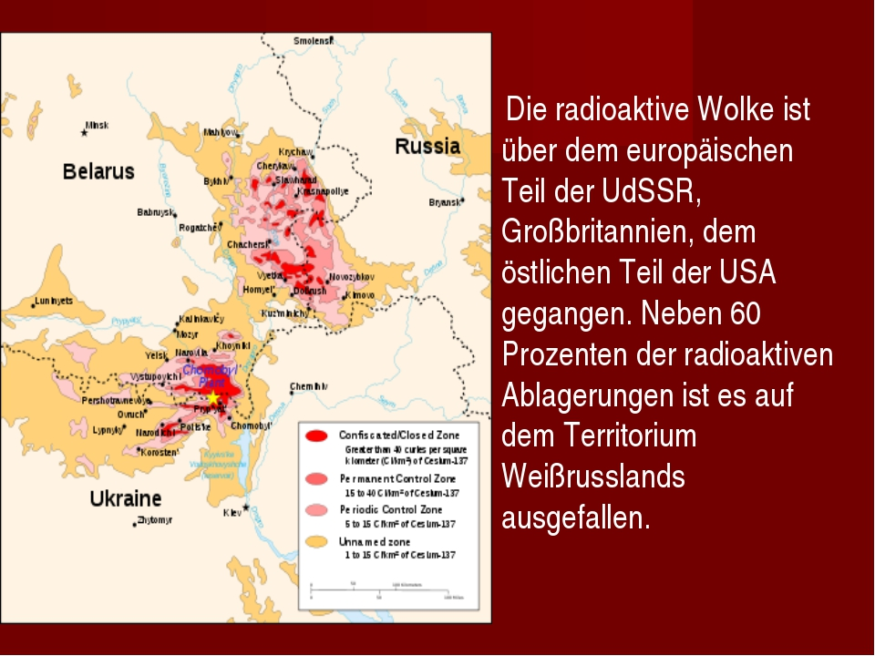 Die radioaktive Wolke ist über dem europäischen Teil der UdSSR, Großbritanni...