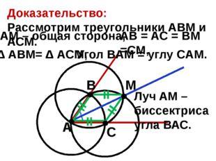 Доказательство: Рассмотрим треугольники АВМ и АСМ. А В С М Луч AM – биссектр