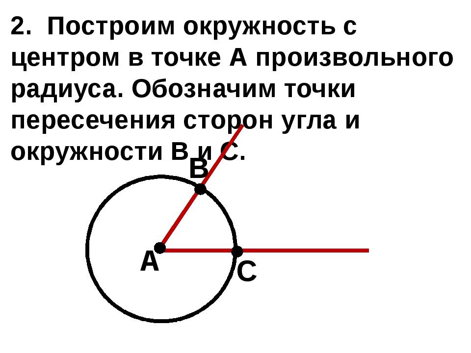2. Построим окружность с центром в точке А произвольного радиуса. Обозначим т...