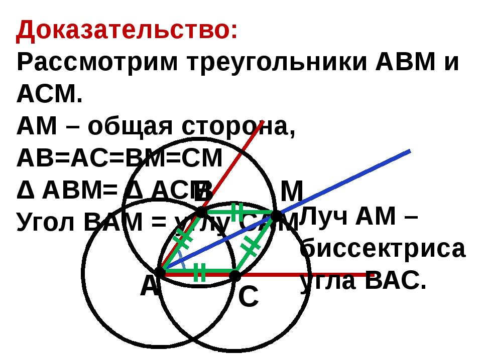 Доказательство: Рассмотрим треугольники АВМ и АСМ. АМ – общая сторона, AB=AC...