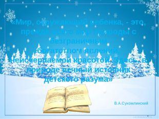 «Мир, окружающий ребенка, - это, прежде всего мир природы с безграничным бог