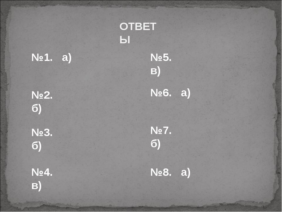 ОТВЕТЫ №1. а) №2. б) №3. б) №4. в) №5. в) №6. а) №7. б) №8. а)