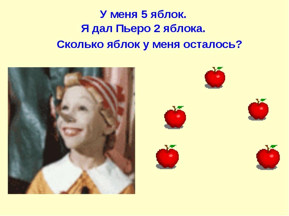 У меня 5 яблок. Я дал Пьеро 2 яблока. Сколько яблок у меня осталось?