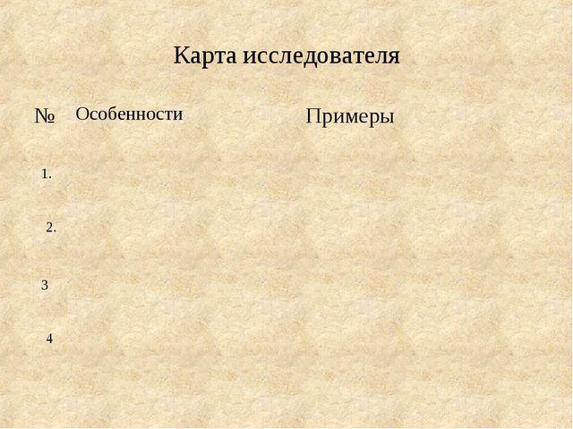 Карта исследователя 1. 2. 3 4 №ОсобенностиПримеры 1