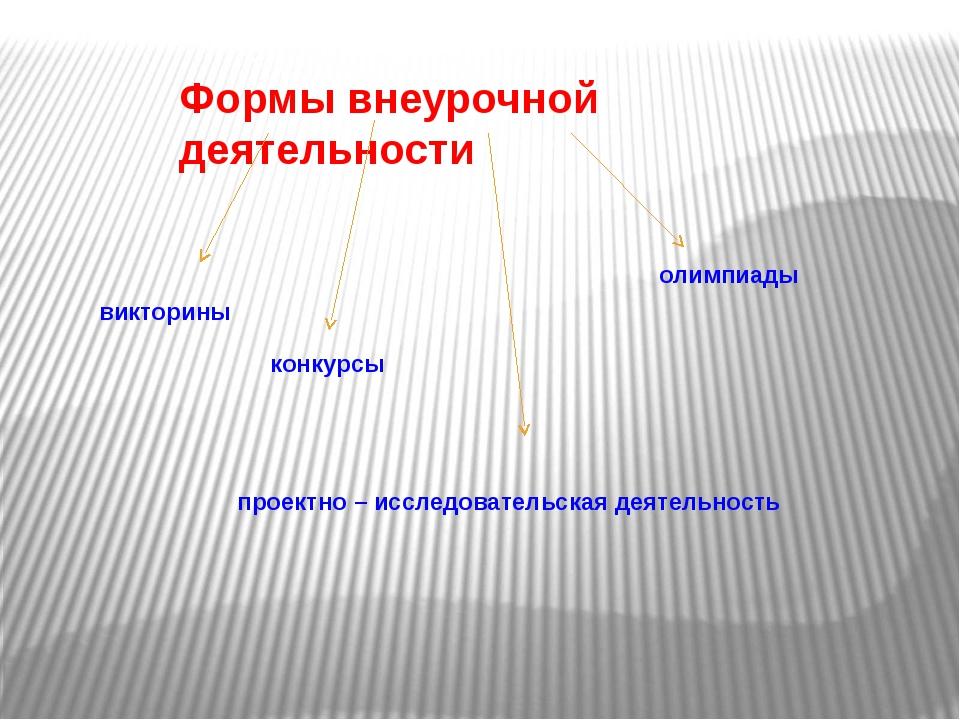 Формы внеурочной деятельности викторины конкурсы олимпиады проектно – исследо...