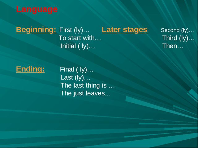 Language Beginning: First (ly)… Later stages: Second (ly)… To start with… Thi...