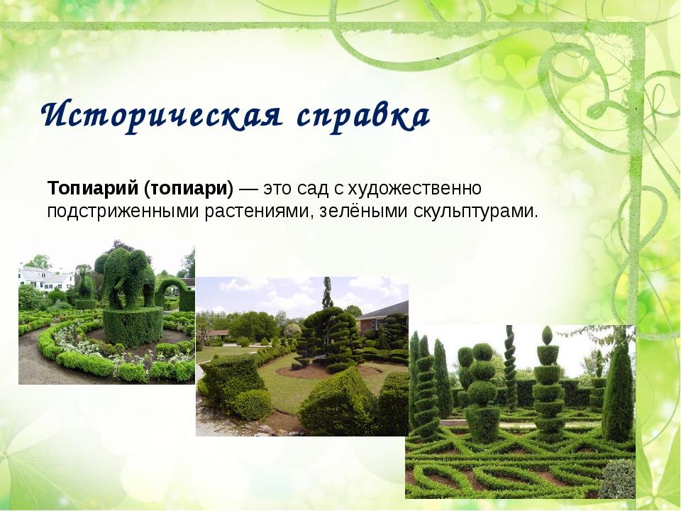 Историческая справка Топиарий (топиари)— это сад с художественно подстриженн...