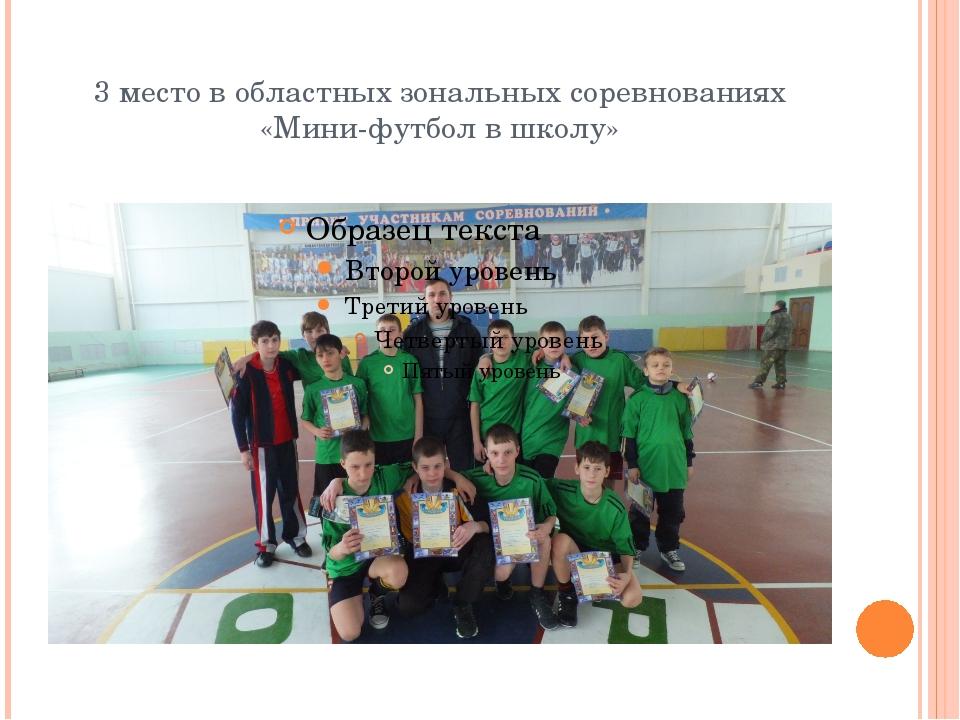3 место в областных зональных соревнованиях «Мини-футбол в школу»
