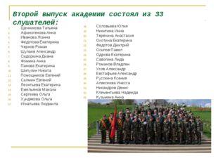 Второй выпуск академии состоял из 33 слушателей: Щенникова Татьяна Афиногенов