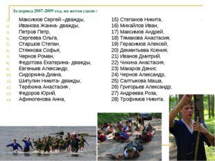 За период 2007-2009 год, на жетон сдали : Максимов Сергей –дважды, Иванова Жа