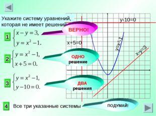 1 3 2 Укажите систему уравнений, которая не имеет решений. 4 ОДНО решение ВЕР