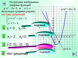 3 1 2 На рисунке изображены графики функций у=х2 – 2х–3 и у=1–х Используя гра