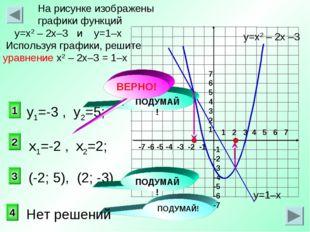 2 1 3 На рисунке изображены графики функций у=х2 – 2х–3 и у=1–х Используя гра