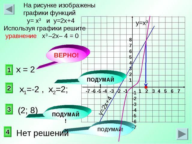 1 2 3 На рисунке изображены графики функций у= х3 и у=2х+4 Используя графики...