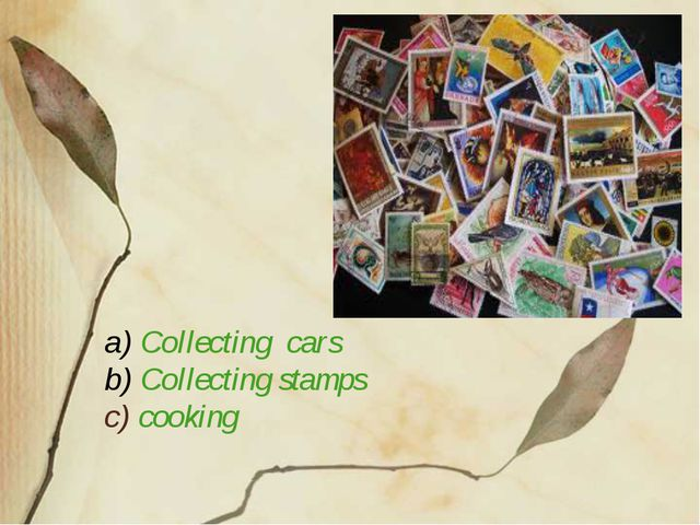 a) Collecting cars b) Collecting stamps c) cooking