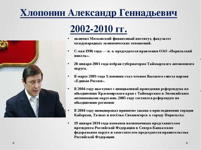 Хлопонин Александр Геннадьевич 2002-2010 гг. окончил Московский финансовый ин...
