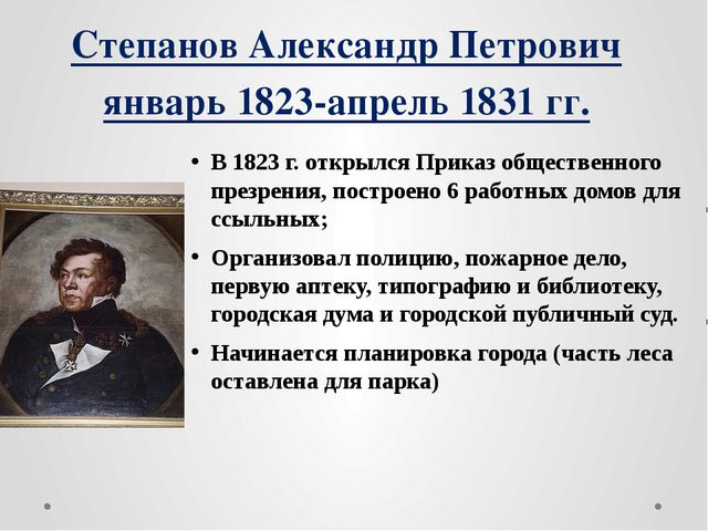 Степанов Александр Петрович январь 1823-апрель 1831 гг. В 1823 г. открылся Пр...