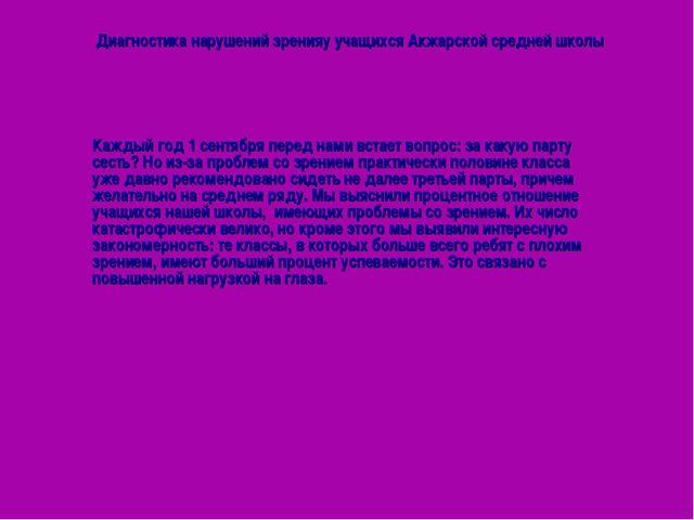 Диагностика нарушений зренияу учащихся Акжарской средней школы Каждый год 1 с...