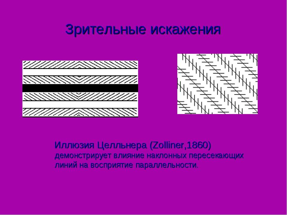 Зрительные искажения Иллюзия Целльнера (Zolliner,1860) демонстрирует влияние...