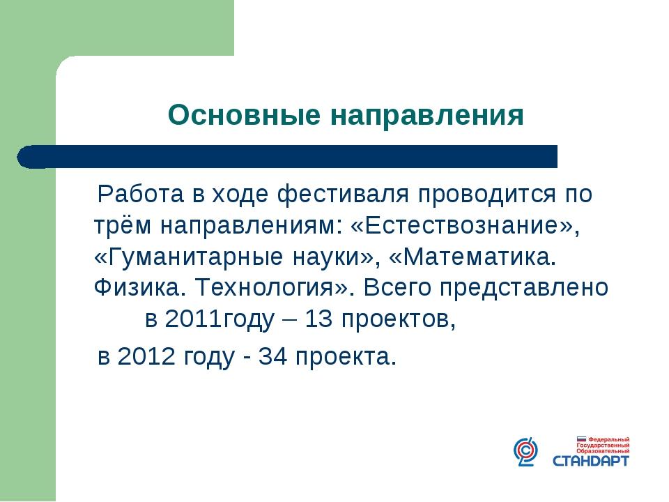 Основные направления Работа в ходе фестиваля проводится по трём направлениям:...