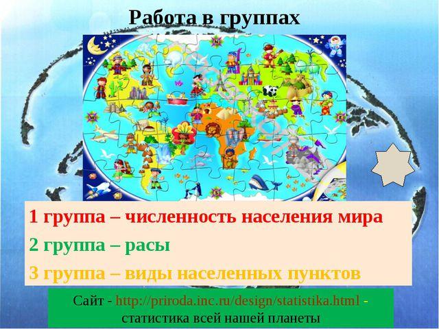 1 группа – численность населения мира 2 группа – расы 3 группа – виды населе...