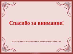 Спасибо за внимание! МДОУ «Детский сад №5 «Колокольчик» с. Эмеково Волжского
