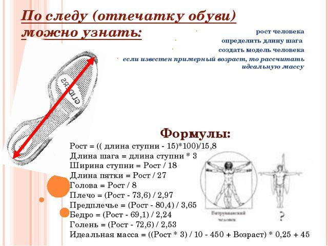 По следу (отпечатку обуви) можно узнать: рост человека определить длину шага...