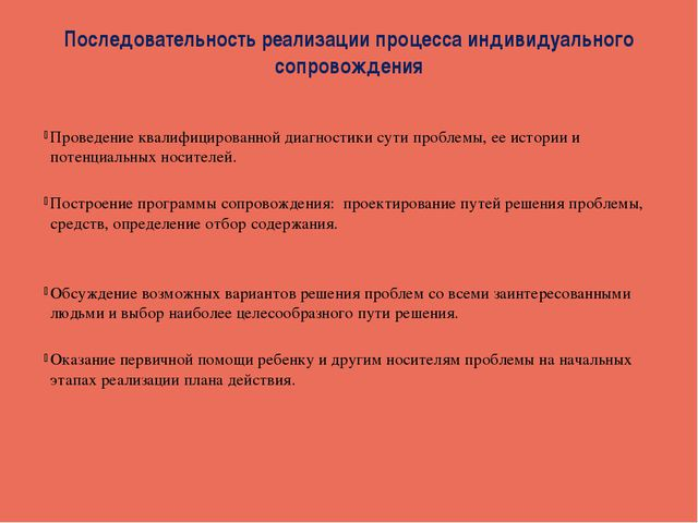 Последовательность реализации процесса индивидуального сопровождения Проведен...