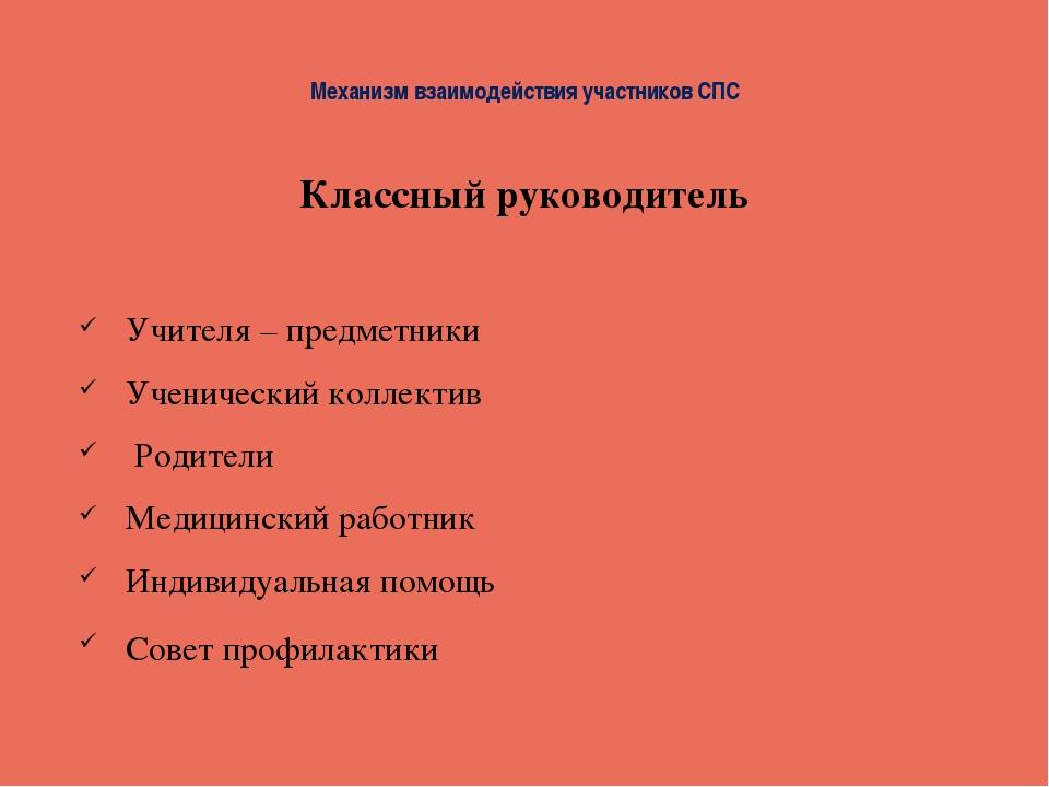 Механизм взаимодействия участников СПС Классный руководитель Учителя – предме...