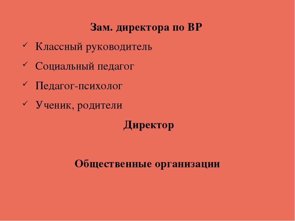 Зам. директора по ВР Классный руководитель Социальный педагог Педагог-психоло...